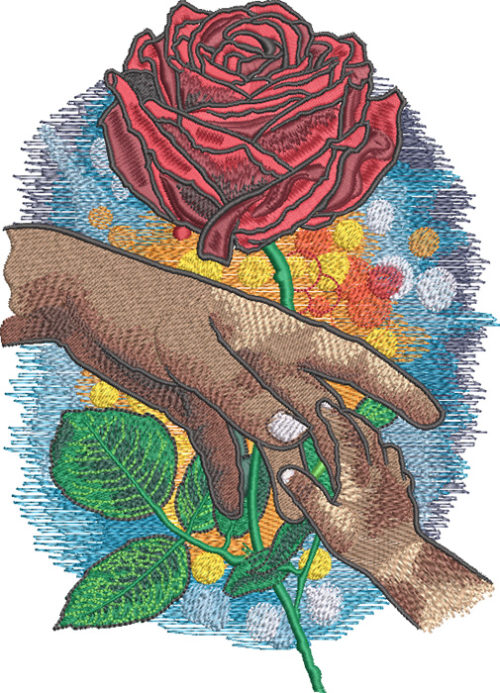 mothers day rose embroidery design