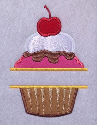 split applique cupcake embroidery design