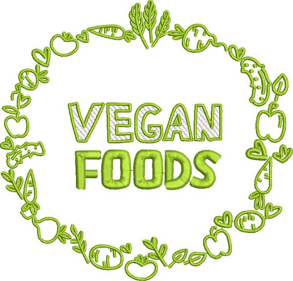 vegan foods embroidery design