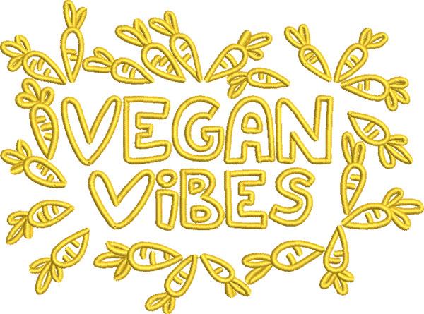 vegan vibes embroidery design