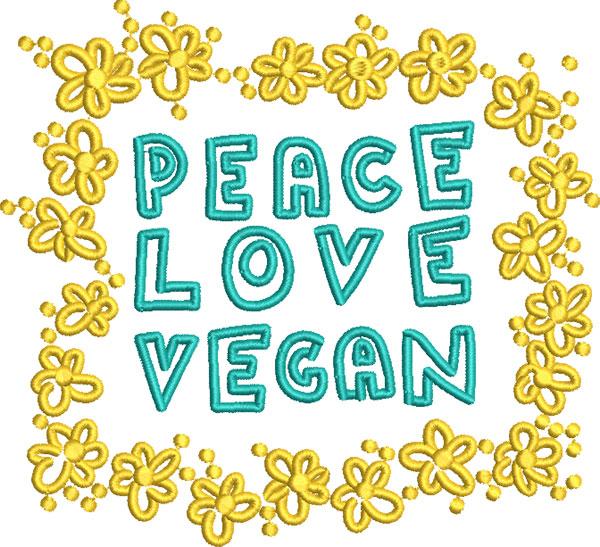 peace love vegan embroidery design