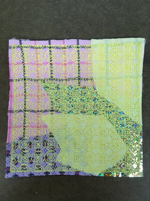 embroidery scraps to fabric