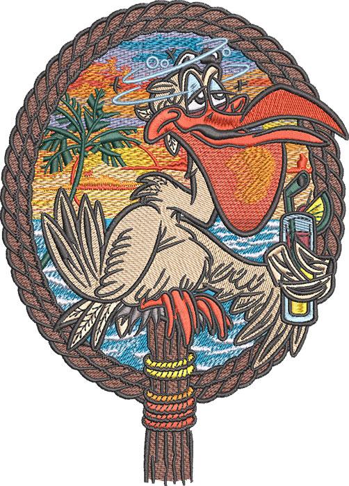 pelican drunk embroidery design