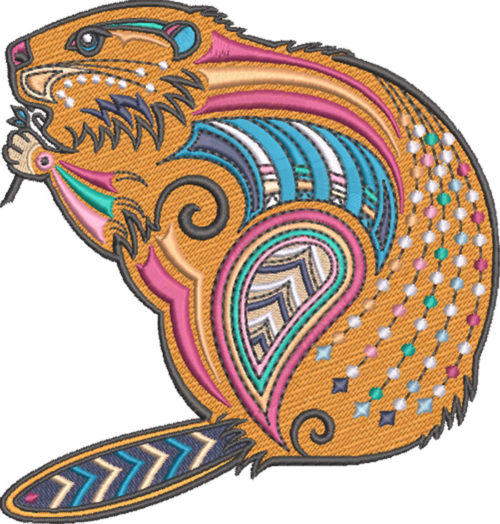 graphic beaver embroidery design