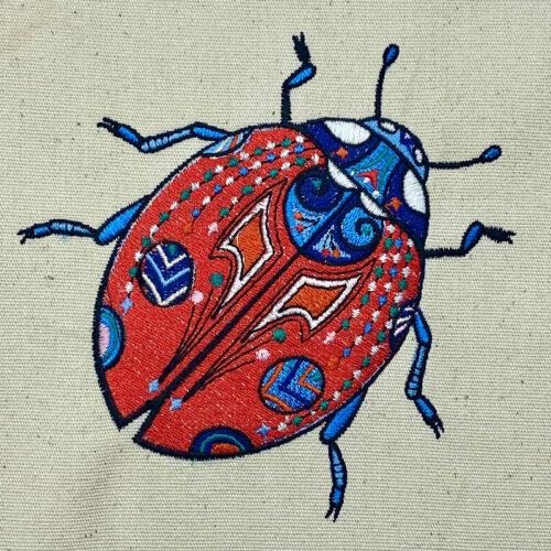 graphic ladybug embroidery design