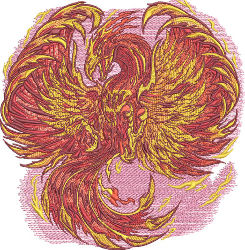 Rising Phoenix embroidery design