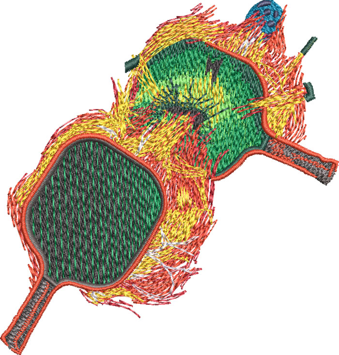 pickleball boom embroidery design