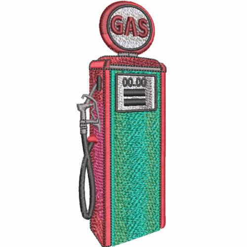 antique gas pump embroidery design