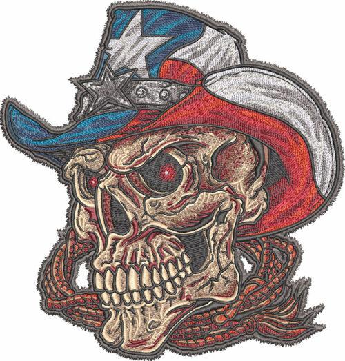 western texas skull embroidery design