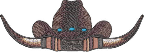 cowboy hat and horns embroidery design