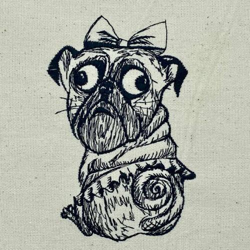 Dog in tutu embroidery design