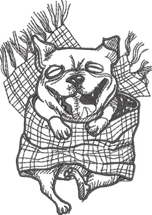 Pug in blanket embroidery design