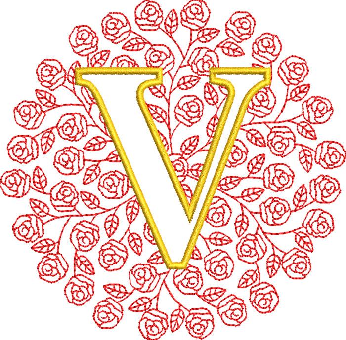 rose monogram embroidery design