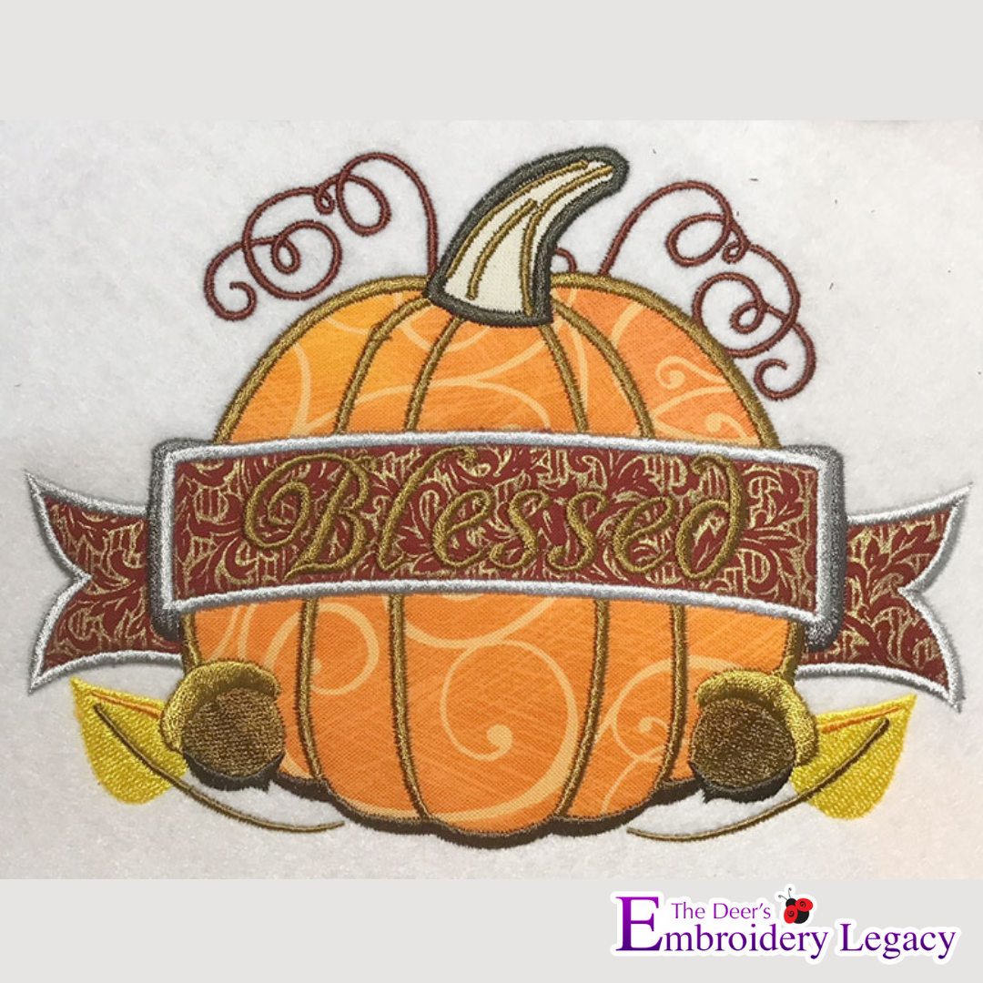 Blessed Pumpkin Applique Embroidery Design