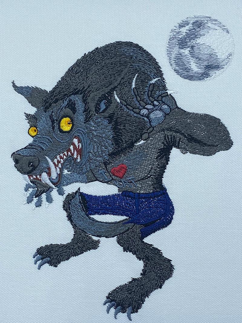 Halloween Gang wolfman embroidery design