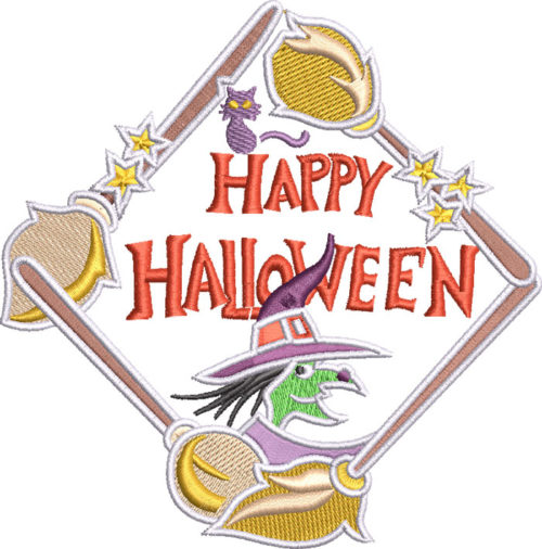 happy hallowee witch embroidery design