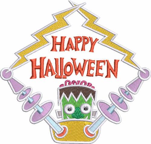 Happy Halloween frank embroidery design