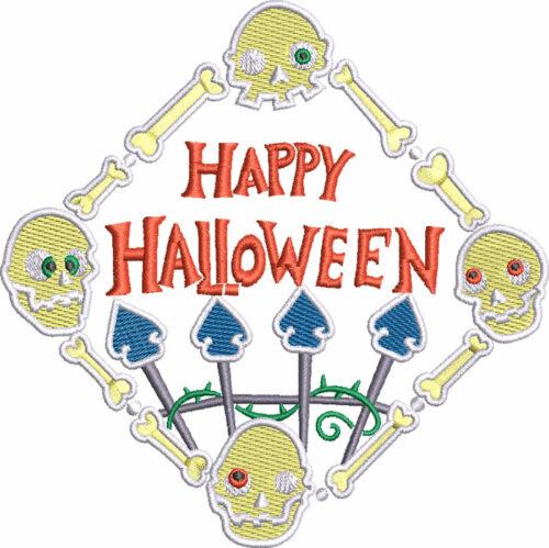 Happy Halloween skulls embroidery design