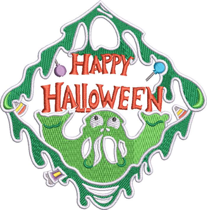 Happy Halloween Slime embroidery design