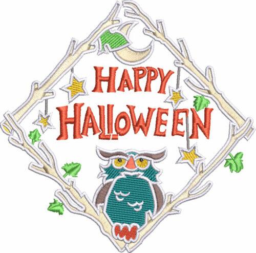 happy halloween owl embroidery design