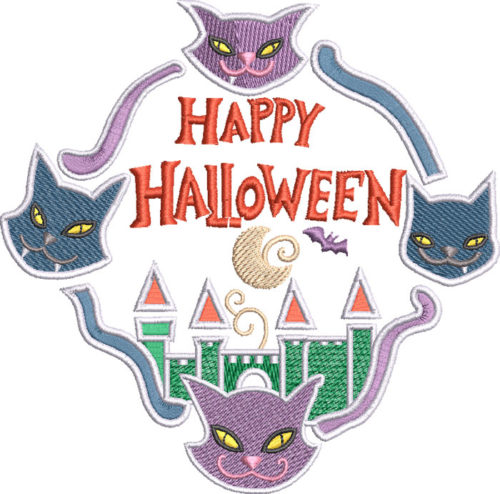 Happy Halloween spooky cats embroidery design