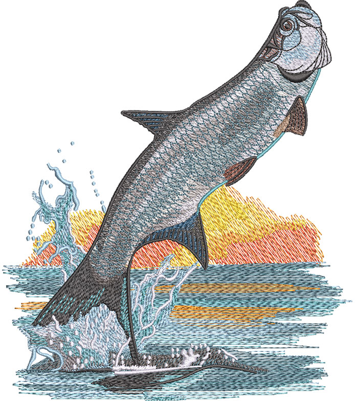 tarpon leaping embroidery design