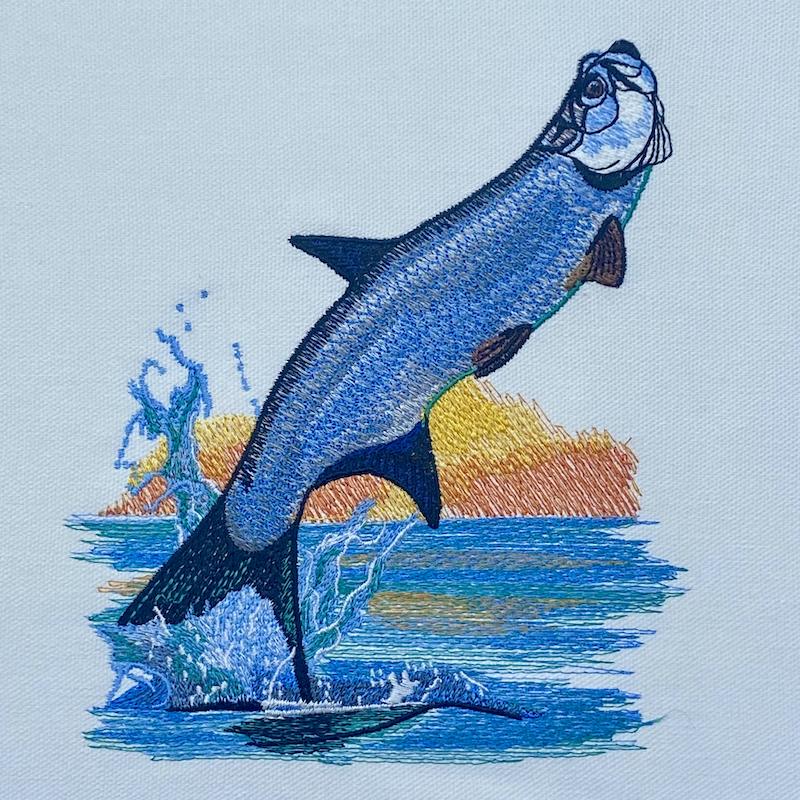 tarpon leap embroidery design