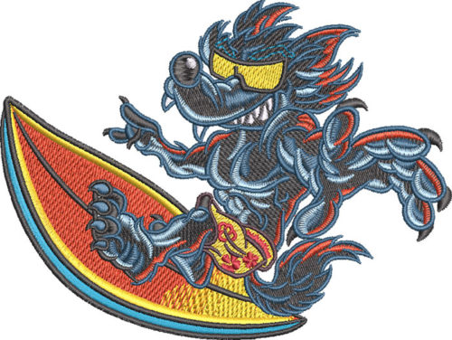 wolf surfing embroidery design