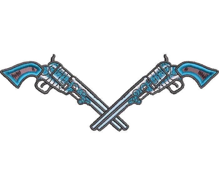 crossed pistols embroidery design