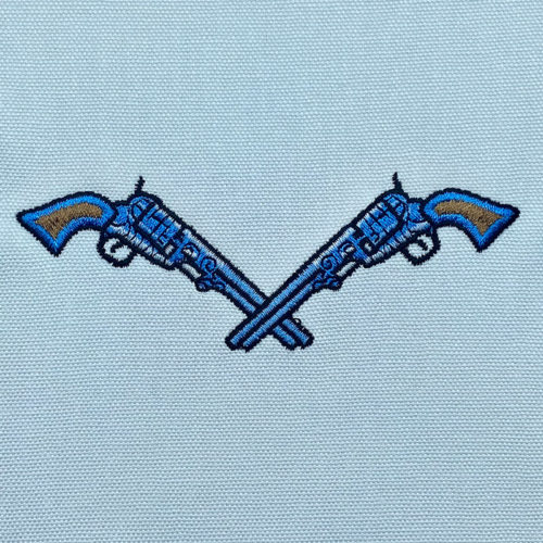 crossed cowboy pistols embroidery design