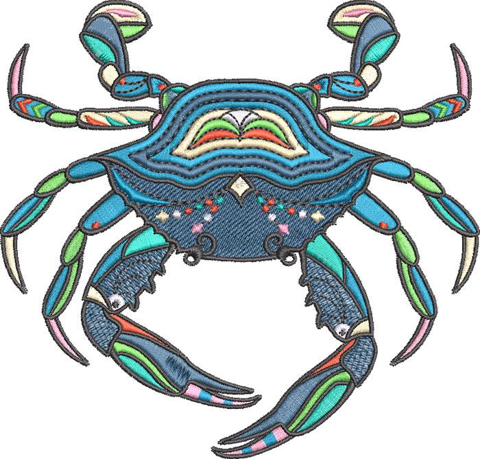 graphic crab embroidery design