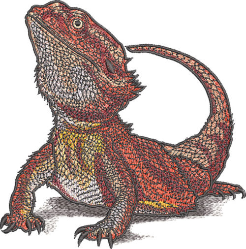 bearded dragon embroidery design