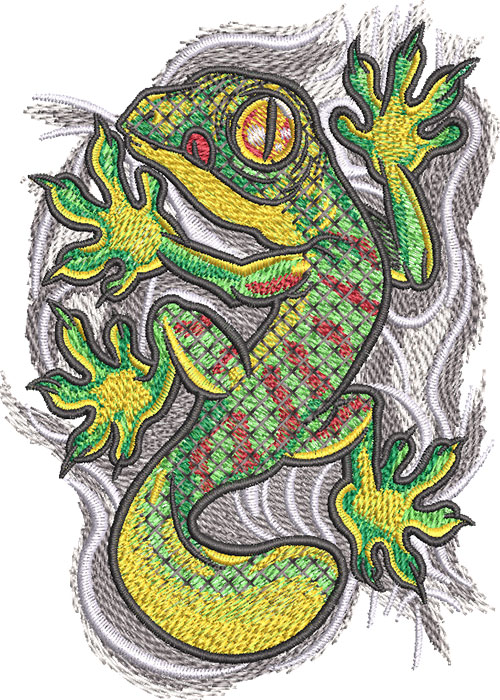 gecko cling embroidery design
