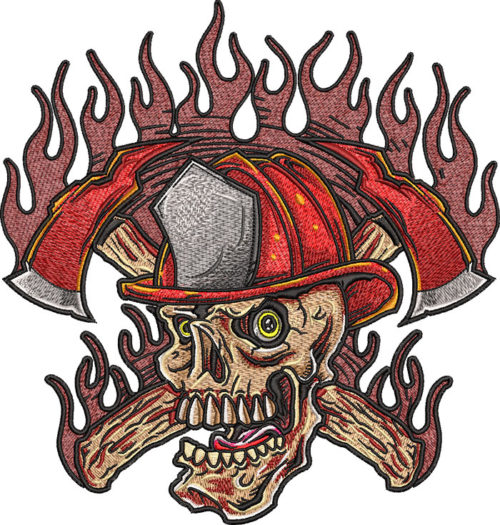 firefighter skull axes embroidery design