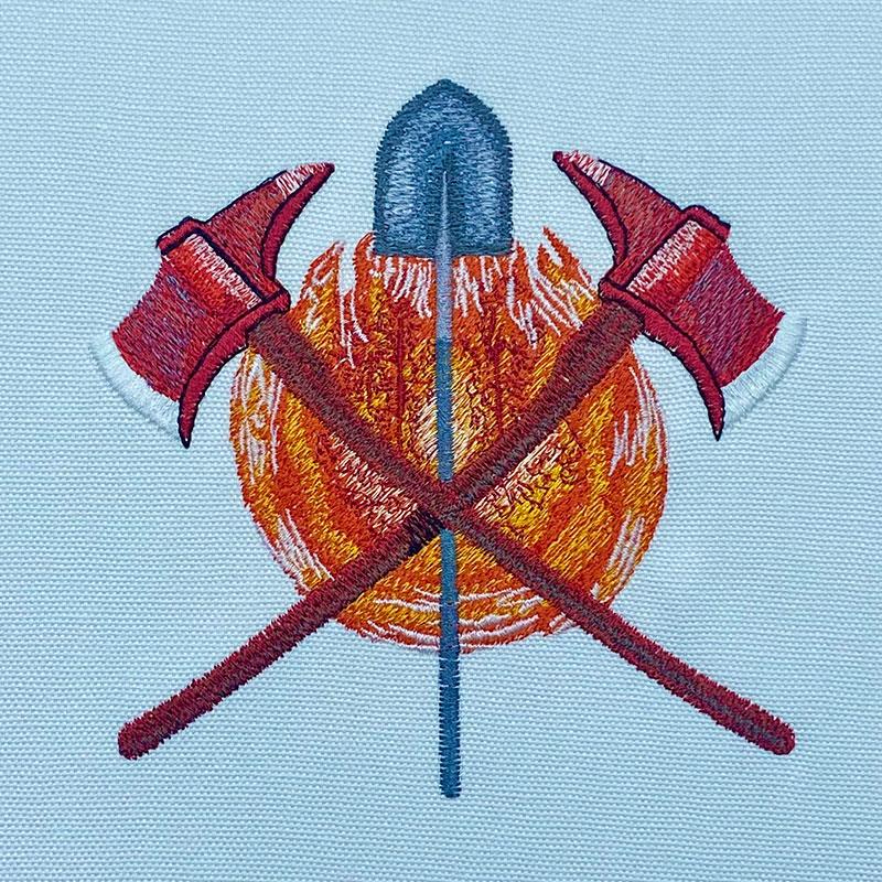 firefighter axes shovel embroidery design