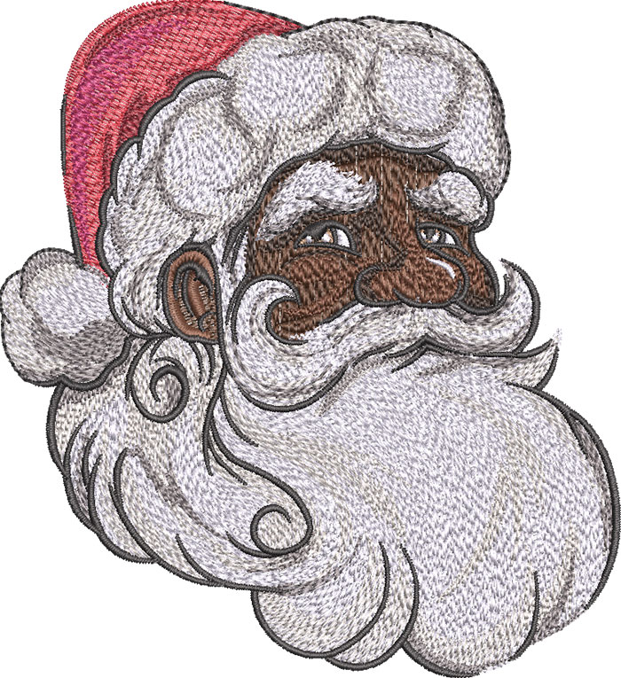 African American Santa Face embroidery design