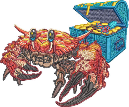 crazy crab embroidery design