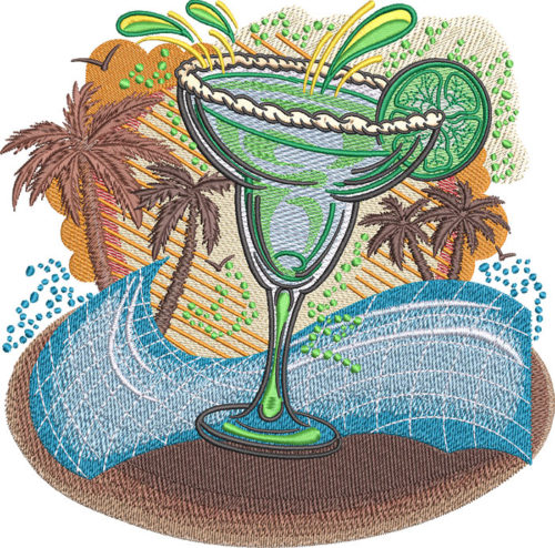 Margarita Beach embroidery design