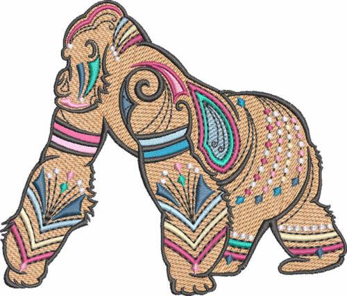 graphic gorilla embroidery design