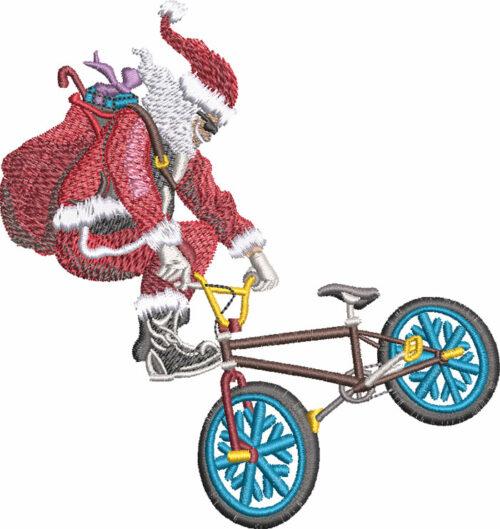 BMX Santa embroidery design