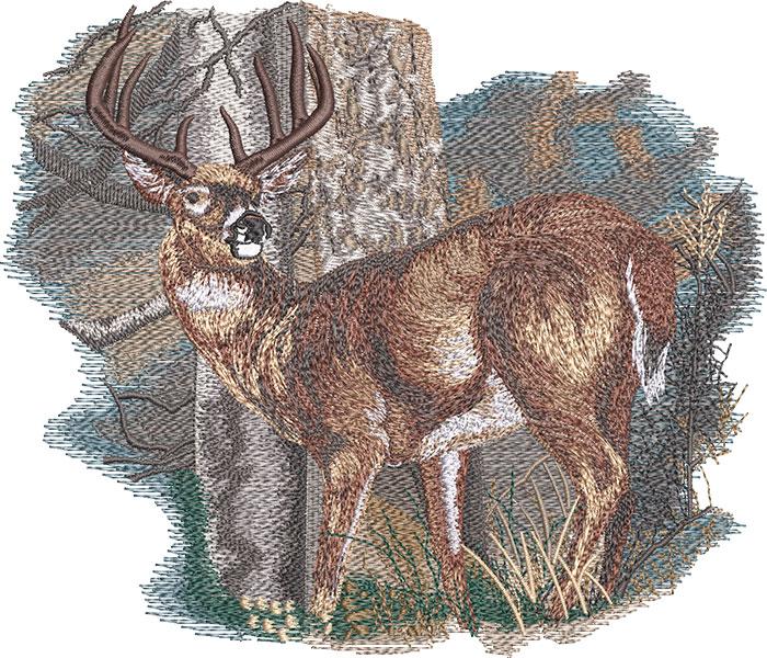 standing deer embroidery design
