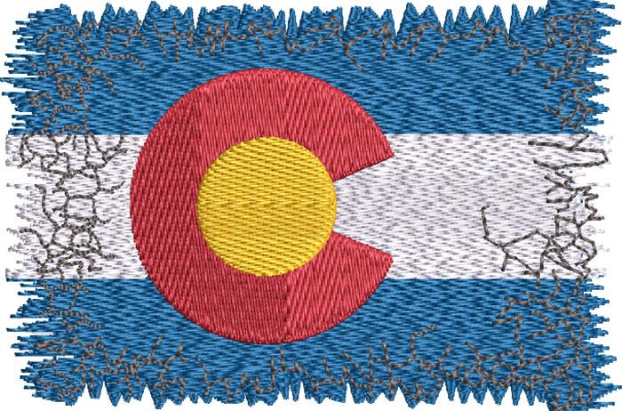 Disstressed Colorado Flag embroidery design