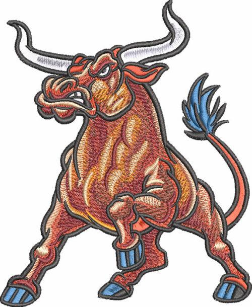 longhorn raging bull embroidery design