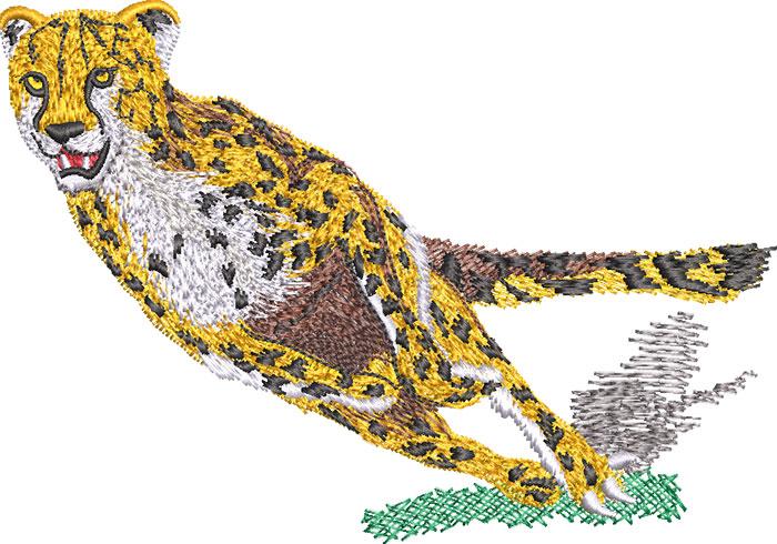 running cheetah embroidery design